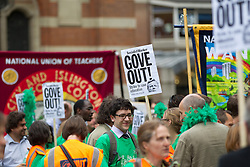 © Licensed to London News Pictures. 25/06/2013. London, UK. Hundreds of members of the national union of teachers (NUT) are seen marching in Westminster, London, today (25/06/2013). The march, against potential pay cuts to teachers salaries, took in a route which included the ministry of education. Photo credit: Matt Cetti-Roberts/LNP