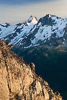 Mount Matier (left 2783 m -9131 ft) and Joffre Peak (2721 m -8927 ft) seen from ridge of Mount Rohr British Columbia Canada