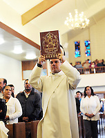 On Easter Sunday, many local families attended services at St. Mary of the Nativity Catholic Church in east Salinas, where Rev. Miguel Rodriguez and Rev. Mr. Jhonnatan Carmona, pictured here, spoke of hope.