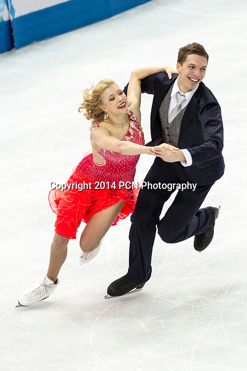 Ekaterina Bobrova and Dmitri Soloviev (RUS) performing in the  Ice Dance short program at the Olympic Winter Games, Sochi, Russia 2014