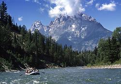 Rafting the Snake River below the Grand Tetons inGrand Teton National Park