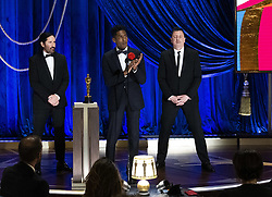 Trent Reznor, Jon Batiste and Atticus Ross accept the Oscar® for Original Score during the live ABC Telecast of The 93rd Oscars® at Union Station in Los Angeles, CA, USA on Sunday, April 25, 2021. Photo by Todd Wawrychuk/A.M.P.A.S. via ABACAPRESS.COM
