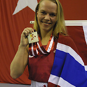 2. WOMEN'S WORLD BOXING CHAMPIONSHIPS.<br /> Norway's Kitel Henrite  winner silver medal. Dilek Sabanci Sport Hall Antalya/Turkey<br /> Photo by Aykut AKICI/TurkSporFoto