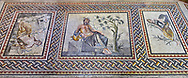 Roman mosaics - The Euphrates ( River Gods). Euphrates Villa, Ancient Zeugama, 2nd - 3rd century AD . Zeugma Mosaic Museum, Gaziantep, Turkey. .<br /> <br /> If you prefer to buy from our ALAMY PHOTO LIBRARY  Collection visit : https://www.alamy.com/portfolio/paul-williams-funkystock/roman-mosaic.html - Type -   Zeugma   - into the LOWER SEARCH WITHIN GALLERY box. Refine search by adding background colour, place, museum etc<br /> <br /> Visit our ROMAN MOSAIC PHOTO COLLECTIONS for more photos to download  as wall art prints https://funkystock.photoshelter.com/gallery-collection/Roman-Mosaics-Art-Pictures-Images/C0000LcfNel7FpLI
