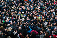 BONDENO, ITALY - 6 JANUARY 2020: Matteo Salvini (center), former Interior Minister of Italy and leader of the far-right League party, is surrounded by supporters waiting to take a selfie with him in Bondeno, Italy, on January 6th 2020.<br /> <br /> Matteo Salvini is campaigning in the region of Emilia Romagna to support the League candidate Lucia Borgonzoni running for governor.<br /> <br /> After being ousted from government in September 2019, Matteo Salvini has made it a priority to campaign in all the Italian regions undergoing regional elections to demonstrate that, in power or not, he still commands considerable support.<br /> <br /> The January 26th regional elections in Emilia Romagna, traditionally the home of the Italian left, has been targeted by Matteo Salvini as a catalyst for bringing down the government. A loss for the center-left Democratic Party (PD) against Mr Salvini's right would strip the centre-left party of control of its symbolic heartland, and probably trigger a crisis in its coalition with the Five Star Movement.
