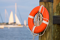A life perserver hangs on a piling in Annapolis, Maryland.