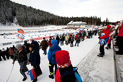 Spectators during the Mixed 2x6 + 2x7,5km relay of the e.on IBU Biathlon World Cup on Saturday, December 19, 2010 in Pokljuka, Slovenia. The fourth e.on IBU World Cup stage is taking place in Rudno polje - Pokljuka, Slovenia until Sunday December 19, 2010. (Photo By Vid Ponikvar / Sportida.com)