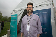 David Hassler, Director of the Wick Poetry Center at the Poets Tent for Science on the National Mall before the March for Science.