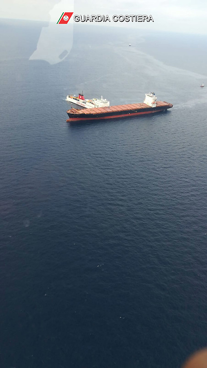 Mediterranean Sea - October 7, 2018.Collision between ships in the northern Mediterranean Sea.Two ships, both departed from the port of Genoa, clashed off the coast of Corsica. The collision between Cotunav Ulysse ferry and the containership CSV Virginia happened about 28 kilometers northwest of Cape Corso. There were no injuries. Fuel has escaped from the containership. Coast Guard are trying to limit the dispersion of polluting liquid into the sea. (Credit Image: © Ropi via ZUMA Press)