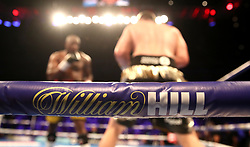 A general view of William Hill branding on the ring ropes at the O2 Arena, London. PRESS ASSOCIATION Photo. Picture date: Saturday July 28, 2018. See PA story BOXING London. Photo credit should read: Nick Potts/PA Wire