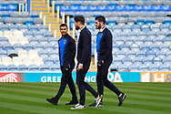 Kwesi Appiah (9) of AFC Wimbledon, Anthony Wordsworth (40) of AFC Wimbledon and Tom King (1) of AFC Wimbledon walking the pitch before the EFL Sky Bet League 1 match between Portsmouth and AFC Wimbledon at Fratton Park, Portsmouth, England on 1 January 2019.