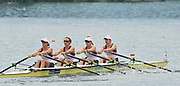 Bled, SLOVENIA,  Bow, Beth RODFORD, Annie VERNON, Anna WATKINS [BEBINGTON] and Katherine GRAINGER. GBR W4-. move away from the start in their heat on the opening day, FISA World Cup, Bled venue, Lake Bled.  Friday  28/05/2010  [Mandatory Credit Peter Spurrier/ Intersport Images]