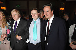 Left to right, BORIS JOHNSON, MATTHEW d'ANCONA and DAVID CAMERON MP  at a party to celebrate the 180th Anniversary of The Spectator magazine, held at the Hyatt Regency London - The Churchill, 30 Portman Square, London on 7th May 2008.<br /><br />NON EXCLUSIVE - WORLD RIGHTS