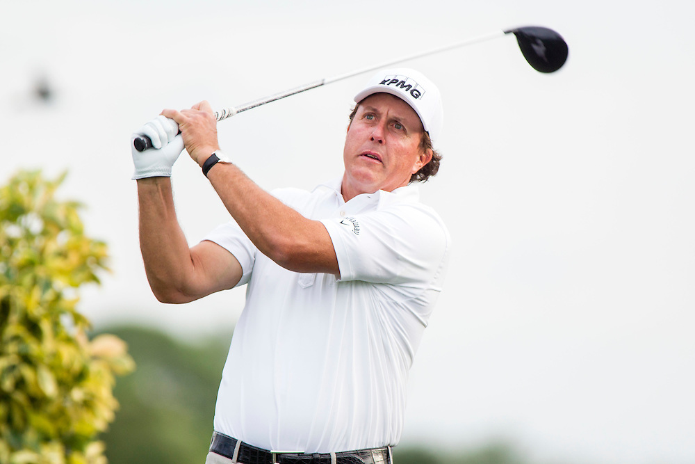 Feb 26, 2015; Palm Beach Gardens, FL, USA; Phil Mickelson during the first round of the Honda Classic at PGA National GC Champion Course. Mandatory Credit: Peter Casey-USA TODAY Sports