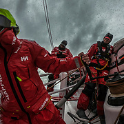 Leg 3, Cape Town to Melbourne, day 03, Sophie Ciszek, Rob Greenhalgh and Willy Altadill on board MAPFRE. Photo by Jen Edney/Volvo Ocean Race. 13 December, 2017.