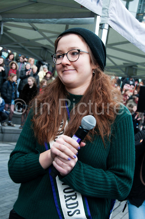 March 4th 2017. Thousands of people, mostly women and girls, marched across Tower Bridge in an event organised by Care International to mark International Womens Day March 8th and the need for gender equality. Laura Pankhurst, great great-granddaughter of Emmeline Pankhurst and great granddaughter of Sylvia Pankhurst, leaders in the British suffragette movement.
