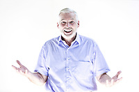 caucasian senior man portrait welcoming cheerful isolated studio on white background