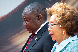 May 25, 2019, Pretoria, South Africa; Newly-elected South African president CYRIL RAMAPHOSA and his wife attend his inauguration ceremony in Pretoria. Ramaphosa said he is 'committed to tackling serious challenges the country faced' during his inauguration ceremony at Loftus Versfeld stadium. (Credit Image: © Yeshiel Panchia/Xinhua via ZUMA Wire)