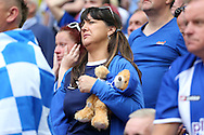 a Female Sheffield Wednesday fan dejected  after full time after seeing her team lose the final. Skybet football league Championship play off final match, Hull city v Sheffield Wednesday at Wembley Stadium in London on Saturday 28th May 2016.<br /> pic by John Patrick Fletcher, Andrew Orchard sports photography.