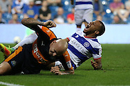 Jonjo Shelvey of Newcastle United collides into Jordan Cousins of QPR who reacts in pain. . EFL Skybet football league championship match, Queens Park Rangers v Newcastle Utd at Loftus Road Stadium in London on Tuesday 13th September 2016.<br /> pic by John Patrick Fletcher, Andrew Orchard sports photography.