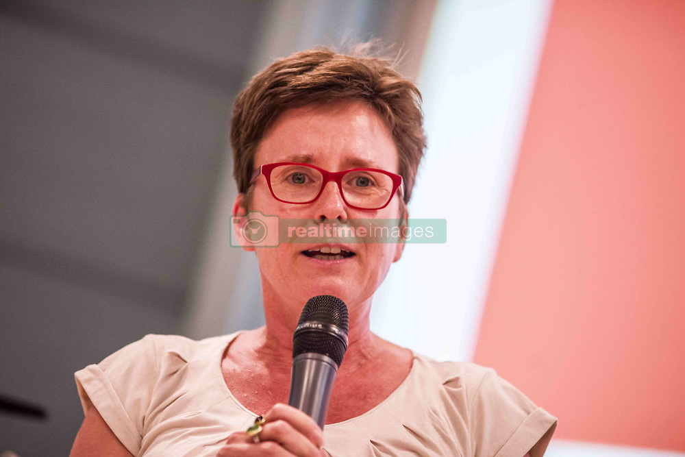 """July 26, 2018 - Munich, Bavaria, Germany - ISABELL ZACHARIAS of the Bavarian Landtag. The chief of the German SPD party ANDREA NAHLES appeared in Munich as part of a dialog session with the JuSos Hochschulgruppe (Junior Socialist University Group). The discussion revolved around the question of """"European Values…Under Attack?"""". Also in attendance was ISABELL ZACHARIAS, Bavarian Landtag Minister and speaker for Hochschulpolitik.  Moderation by SEPP PARZINGER. Nahles is the first female leader of the party in its 155 year history, having inherited the role after Martin Schulz stepped down and Olaf Scholz acted as party leader until elections took place.  Nahles won against Simone Lange with 66% of the vote. (Credit Image: © Sachelle Babbar via ZUMA Wire)"""
