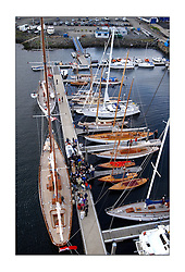 Belle Adventure, a 94' Bermudan Ketch built by Wm Fife in 1929 sits at Rhu marina with the some of the Fife fleet during after a lay day on the Monday of the Fife Regatta...This the largest gathering of classic yachts designed by William Fife returned to their birth place on the Clyde to participate in the 2nd Fife Regatta. 22 Yachts from around the world participated in the event which honoured the skills of Yacht Designer Wm Fife, and his yard in Fairlie, Scotland...FAO Picture Desk..Marc Turner / PFM Pictures