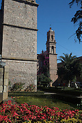 View of the Biblioteca Publica or Public Library, a Baroque style building in Morelia, Michoacan state Mexico. The city is a UNESCO World Heritage Site and hosts on of the best preserved collection of Spanish Colonial architecture in the world. The building, constructed in the seventeenth century was originally the temple of Jesus and became a library in 1930.