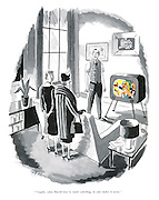 """""""Usually, when Harold tries to repair something, he only makes it worse."""" (a cartoon showing a pair of women and a colour TV- colour transmissions were not commercially available in Britain at the time)"""