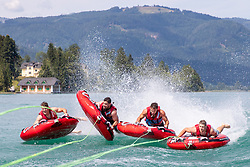 17.07.2019, Sankt Gilgen, AUT, OeSV, Pressetermin Herren Speed Team, Wasserskifahren und Wakesurfen beim Wolfgangsee, im Bild v.l. Christoph Neumayer, Vincent Kriechmayr, Christoph Krenn, Johannes Kröll // during a press conference of the Austrian Ski Association (OeSV), Mens Speed Team waterskiing and wakesurfing at the Wolfgangsee Sankt Gilgen, Austria on 2019/07/17. EXPA Pictures © 2019, PhotoCredit: EXPA/ Johann Groder