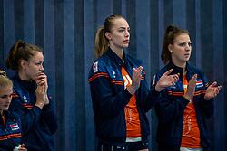 Laura de Zwart of Netherlands, Iris Scholten of Netherlands in action during the Women's friendly match between Netherlands and Belgium at Sporthal De Basis on may 19, 2021 in Sliedrecht, Netherlands (Photo by RHF Agency/Ronald Hoogendoorn)
