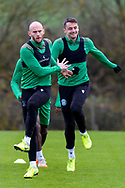 David Gray (#2) of Hibernian FC (left) during the training session at Hibernian Training Centre, Ormiston, Scotland on 27 November 2020, ahead of their Betfred Cup match against Dundee.