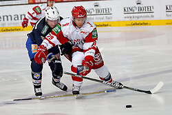 03.10.2011, Olympia Eishalle, Muenchen, GER, DEL, EHC Muenchen vs. Koelner Haie, im Bild Noah Clarke (EHC #42) im kampf mit Greg Classen (Koeln #79)  // during the match EHC Muenchen vs. Koelner Haie  , on 2011/10/03, Olympia Eishalle, Munich, Germany, EXPA Pictures © 2011, PhotoCredit: EXPA/ nph/  Straubmeier       ****** out of GER / CRO  / BEL ******