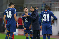 PIRAEUS, GREECE - DECEMBER 09: Cooling break for FC Porto players during the UEFA Champions League Group C stage match between Olympiacos FC and FC Porto at Karaiskakis Stadium on December 9, 2020 in Piraeus, Greece. (Photo by MB Media)