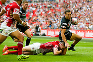 Hull FC centre Carlos Tuimavave (3) is brought down short of the line during the Ladbrokes Challenge Cup Final 2017 match between Hull RFC and Wigan Warriors at Wembley Stadium, London, England on 26 August 2017. Photo by Simon Davies.