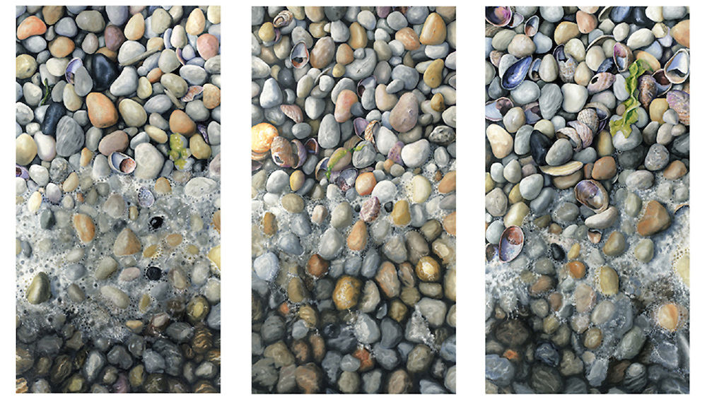 The sum is greater than the parts, as hundreds of sparkling beach pebbles in varying shades of white come together to bring you the peace of a wave washing across your toes in this triptych.<br /> SOLD.  Prints available upon request at Fine Art America.