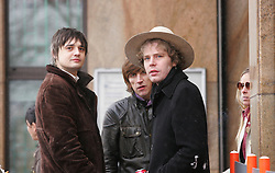 © under license to London News Pictures. 2/12/10 Pete Doherty (left) arriving at Bow magistrates court this morning (02/12/2010) to face charges of cocaine possession. Doherty was questioned by detectives investigating the suspected overdose death of heiress Robin Whitehead. Two of his friends also appeared on charges of cocaine possesion. Photo credit should read: Olivia Harris/ London News Pictures