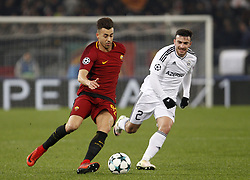 December 5, 2017 - Rome, Italy - Roma s Stephan El Shaarawy, left, is challenged by Qarabag s Gara Garayev during the Champions League Group C soccer match between Roma and Qarabag at the Olympic stadium. Roma won 1-0 to reach the round of 16. (Credit Image: © Riccardo De Luca/Pacific Press via ZUMA Wire)