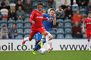 Ollie Rathbone chases for the ball during the EFL Sky Bet League 1 match between Rochdale and Gillingham at Spotland, Rochdale, England on 23 September 2017. Photo by Daniel Youngs.