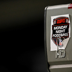 November 28, 2011; New Orleans, LA, USA; A detailed view of a Monday Night Football logo on a television camera prior to kickoff of a game between the New Orleans Saints and the New York Giants at the Mercedes-Benz Superdome. Mandatory Credit: Derick E. Hingle-US PRESSWIRE