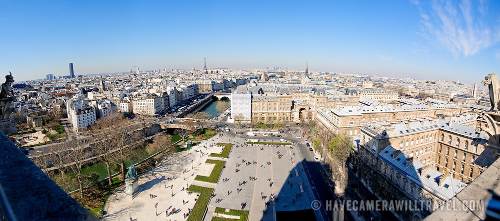 View overlooing the city of Paris from the top of Notre Dame de Paris Cathedral.