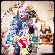 Hopi snake dance powwow dance performer in full costume and feathers.