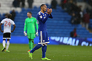 Kenneth Zohore of Cardiff city applauds the Cardiff fans at the end of the game. EFL Skybet championship match, Cardiff city v Fulham at the Cardiff city stadium in Cardiff, South Wales on Saturday 25th February 2017.<br /> pic by Andrew Orchard, Andrew Orchard sports photography.