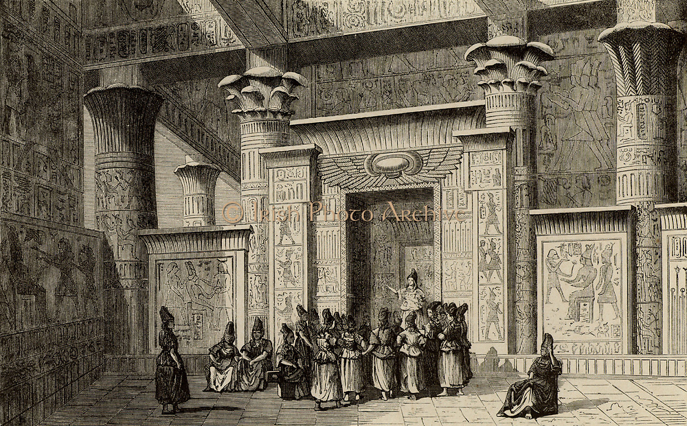 Pythagoras (6th century BC) Ancient Greek Philosopher and mathematician, with the Egyptian priests.  Engraving from'Vies des Savants Illustres' by Louis Figuier (Paris 1866).