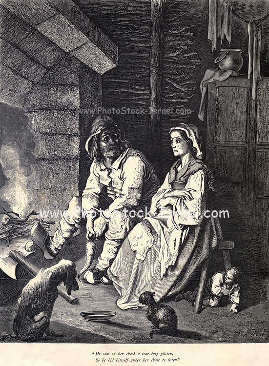 """He saw on her cheek a tear-drop glisten, So he hid himself under her chair to listen."""" Illustration from 'Hop O' My Thumb' by Paul Gustave Dore. Hop-o'-My-Thumb (Hop-on-My-Thumb), or Hop o' My Thumb, also known as Little Thumbling, Little Thumb, or Little Poucet is one of the eight fairytales published by Charles Perrault in Histoires ou Contes du temps passé (1697), Where the small boy defeats the ogre. Illustration by Gustave Dore from the book Fairy realm. A collection of the favourite old tales. Illustrated by the pencil of Gustave Dore by Tom Hood, (1835-1874); Gustave Doré, (1832-1883) Published in London by Ward, Lock and Tyler in 1866"""