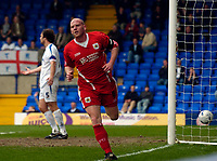 Photo: Jed Wee.<br /> Tranmere Rovers v Bristol City. Coca Cola League 1. 22/04/2006.<br /> <br /> Bristol City's Steve Brooker celebrates after scoring the opening goal of the game.