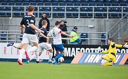 Morton's Doug Imrie scoring their goal.<br /> Falkirk 1 v 1 Morton, Scottish Championship game today at The Falkirk Stadium.<br /> © Michael Schofield.