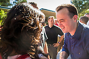 27 AUGUST 2012 - GILBERT, AZ:   KIRK ADAMS, a former speaker of the Arizona State House of Representatives, campaigns at a barbecue in Gilbert. Sarah Palin campaigned for Arizona Republicans aligned with the Tea Party movement at a barbecue in Gilbert, AZ, a suburb of Phoenix. She campaigned for Kirk Adams, who is running for Congress and Jeff Flake, who is running for US Senate. Palin spoke and served barbecued chicken in 108 degree heat.     PHOTO BY JACK KURTZ