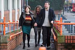 © Licensed to London News Pictures. 17/01/2017. London, UK. L to R ALISON PLAYFORD, NAOMI MABITA (rear) and MARK WEAVER arrive at Willesden Magistrates Court in west London where they are three of nine people charged with wilfully obstructing the highway at Heathrow Airport. A group of protesters supporting the Black Lives Matter group blocked the M4 spur road to Heathrow Airport in August last year. Photo credit: Ben Cawthra/LNP