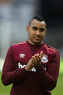 Dimitri Payet of West Ham United applauds the fans before k/o. The Emirates FA cup, 3rd round match, West Ham Utd v Wolverhampton Wanderers at the Boleyn Ground, Upton Park  in London on Saturday 9th January 2016.<br /> pic by John Patrick Fletcher, Andrew Orchard sports photography.