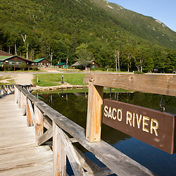 The dam at Willey Pond in New Hampshire's Crawford Notch State Park.  White Mountains.